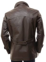 men s brown leather peacoat bursdon back