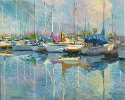 juan del pozo abstract painting boats at the harbour landscape oil painting