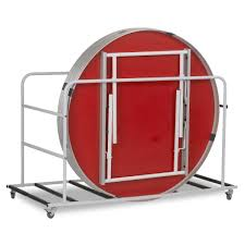 round fast fold table trolley