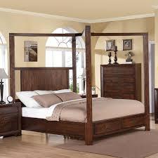 Riata Wood Canopy Storage Bed in Warm Walnut | Humble Abode
