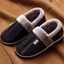 winter house slippers men leather plush male shoes waterproof plus size 11 5 15 anti dirty warm slippers package non slip moccasins thigh high boots from