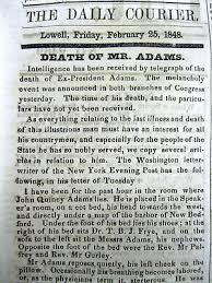 John Quincy Adams Presidency Chart 1825 Newspaper John Quincy Adams Elected President Election