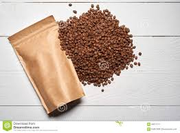 coffee beans bag. Plain Coffee Download Mockup Craft Paper Pouch Bags With Coffee Beans Stock Image   Of To Bag