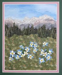 Quilts by JVC ..  .. PATTERNS - Litte Landscape Mountain ... & Enlarged View of the Little Landscape Mountain Columbines quilt Adamdwight.com