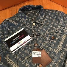 details about louis vuitton x supreme denim trucker jacket s m small 48 52 authentic lv medium