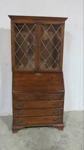 ethan allen maple secretary bookcase desk leaded glass