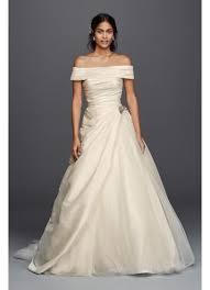 jewel taffeta wedding dress with brooch david s bridal