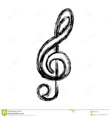 Musical Staff Sign Contour Sign Music Note Icon Stock Illustration Illustration Of