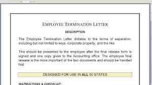 Firing Letter Letter Of Employment Template Confirming Termination Employee