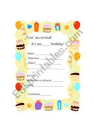 text invitation birthday party writing a birthday party invitation card esl worksheet by