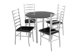 lincoln dining set 4 seater black gl dining table 4 chairs black silver