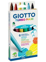 Giotto TURBO MAXI <b>6цв</b>. <b>Фломастеры</b> утолщенные, 6 цветов. Fila ...