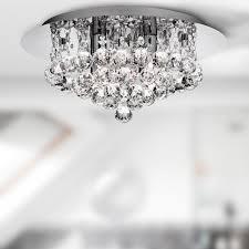 hanna 4 led light ip44 round crystals chrome