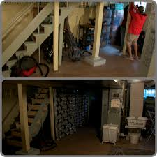 Beer Bread  Baby Project Home Unfinished Basement Upgrade - Ununfinished basement before and after