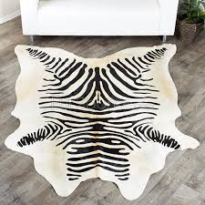 zebra print cowhide rug black on natural white