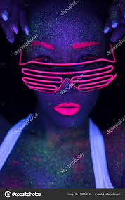 creative led lighting. Closeup Woman Face Fluorescent Make Led Lights Glasses Creative Makeup \u2014 Stock Photo Lighting T