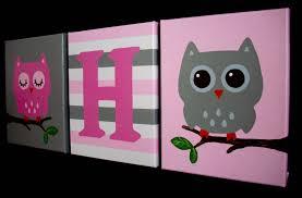 Owl Bedroom Owl Nursery Paintings Pink Grey Woodland Owls Girls
