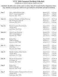 Summer Camp Weekly Schedule 2016 Weekly Summer Camp Fieldtrip Schedule Chinese Community Center