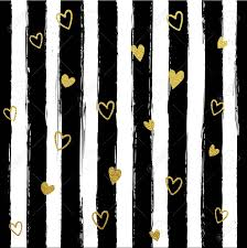 Glitter gold striped wallpaper. Paint brush strokes background. Black and  white calligraphy stripes.
