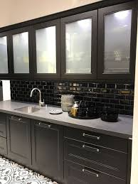 if you need the storage but want an open airier feel you may install cabinets with frosted glass doors or you may simply replace the doors on your