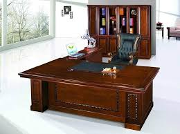 wooden office table. Glamorous Wooden Office Table With Black Executive Chair