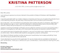Adjunct Professor Cover Letter Examples Samples Templates