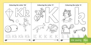 Just click on the alphabet coloring pages that you like and then click on the print button at the top of the page. Letter K Colouring Pages Teacher Made