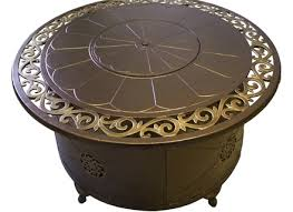 48 in round propane fire pit table with decorative scroll 99998