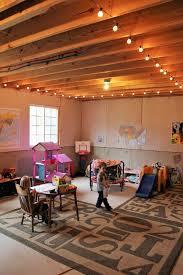 unfinished basement lighting. Basement Play Room String Lights Kid Cave Unfinished Toys Storage And Organization Lighting U