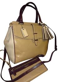 Coach Satchel in Taupe Bone Eggplant ...
