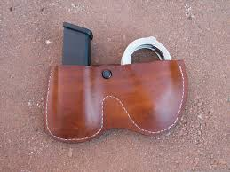 Handcuff And Magazine Holder Custom Made Leather Handcuff And Magazine Holster By Ozark 47