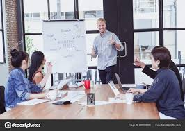 What Is Flip Chart Presentation Young Businessman Giving Presentation Flipchart His Business