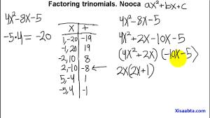 Ac Method Factoring Trinomials Using The Ac Method In Somali Part 1 Qebtii 1
