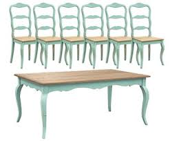 A  Magnificent Turquoise French Dining Table Set 1 6 Chairs Shab With  Regard To Country Kitchen