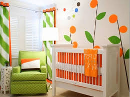 green nursery furniture. Baby Nursery. Stunning Green Fabric Sofa Also White Wooden Crib Orange Bedding Nursery Furniture F