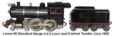 lionel trains lionel standard gauge 6 4 4 0 steam loco made from 1906 to