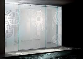 Amazing Design of Modern Sliding Glass Doors Spiral Etched