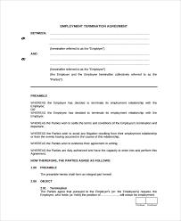 Employment Termination Agreement employment separation agreement template sample employment 1