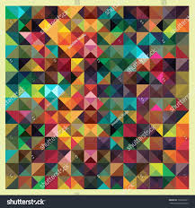 Mosaic Design Colorful Triangles Modern Abstract Mosaic Design Vintage