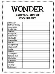 wonder by r j palacio section by section voary