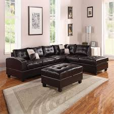 acme furniture kiva reversible bonded leather sectional in espresso 51195