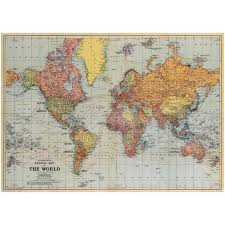 World Map Chart Maker General Vintage Style Political World Map Poster Upcycling