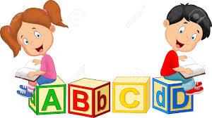 children cartoon reading book and sitting on alphabet blocks stock vector 37538179