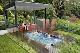 Patio with pool Rectangle Small Inground Pools Modern Patio Ideas Pool Deck Pool Shade Autumn Leaf Landscape Design Small Inground Pools Inspiring Ideas For Small Gardens And Patios