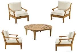luxurious 5 piece teak sofa set 4 lounge chairs 1 round coffee table