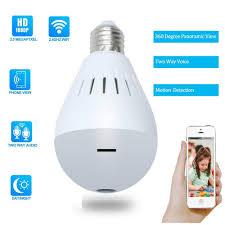 Cbaooo Bulb Lamp Wireless Ip Camera Wifi 960p Panoramic Fisheye Home