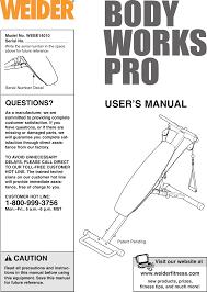 Weider Body Works Pro Chart Weider Bodyworks Pro Bench Webe1401 Users Manual Webe14010