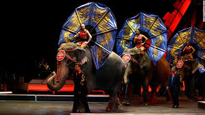 performers ride elephants during a show in new york in april 2007