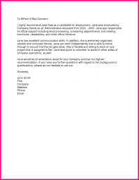Recommendation Letter For Office Assistant Employment Reference Letter Template Business