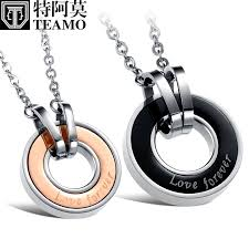 teamo his and hers necklaces rose gold black disc pendants love forever engraved interlocking circle necklace in titanium steel matching couple jewelry